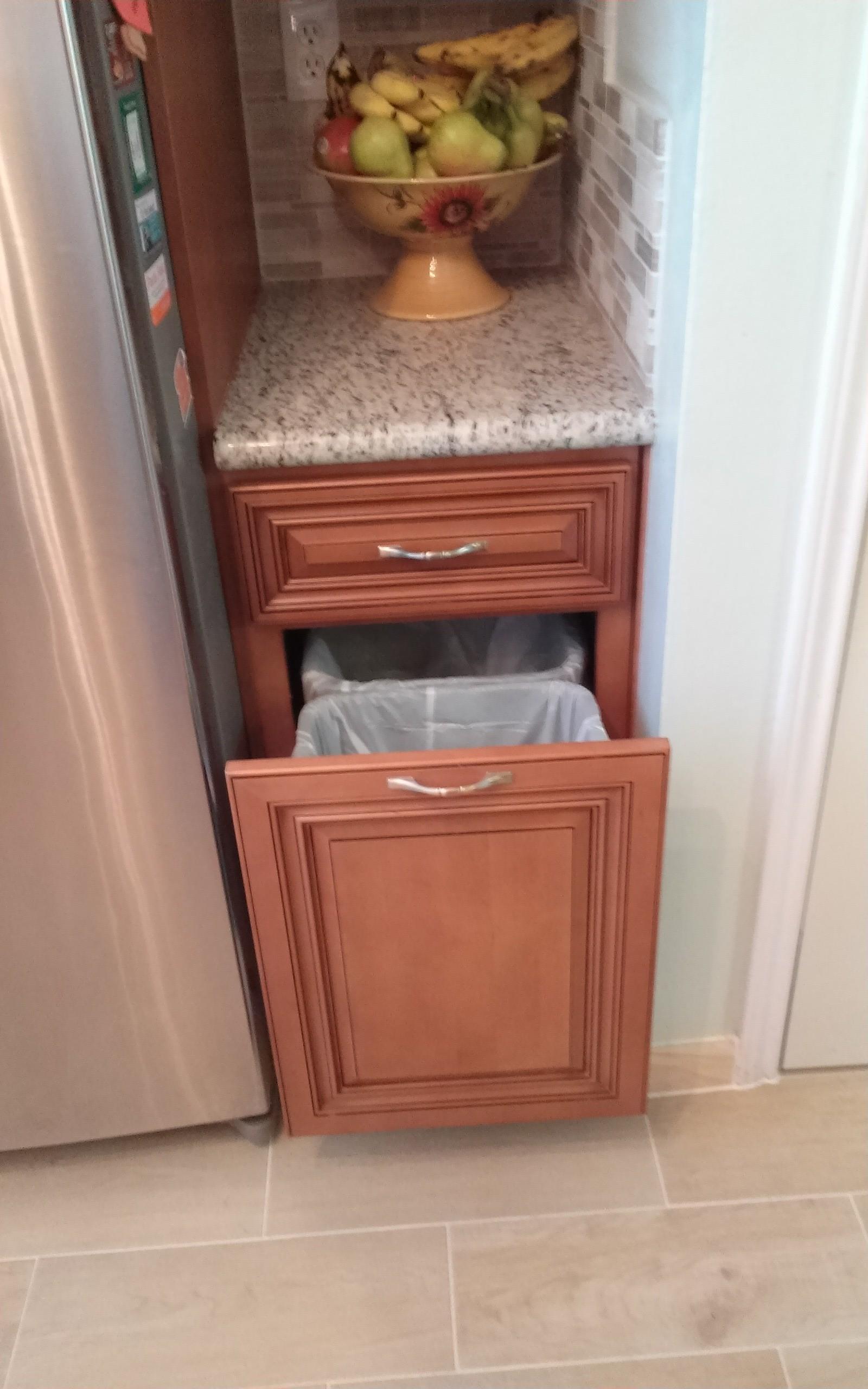 White Poplar Kitchen Trash Cabinet Stylish